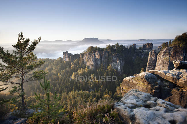 Scenic landscape of misty mountain valley — Stock Photo