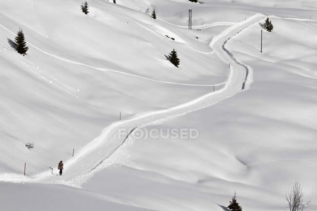 Fernsicht von Person, die auf schneebedecktem Fußweg bergauf geht — Stockfoto