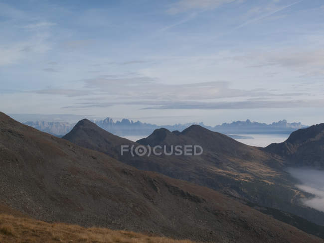 Scenic view of mountain landscape at foggy day — Stock Photo