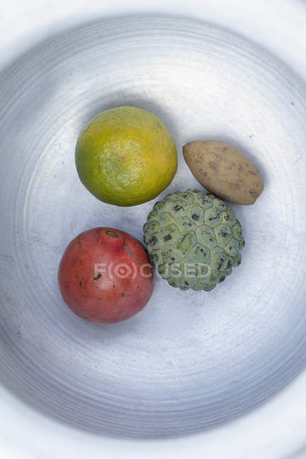 Top view of various tropical fruits in plate on white background — Stock Photo