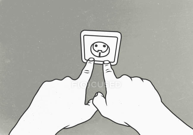 Illustrazione delle mani che mettono le dita in uscita sulla parete — Foto stock