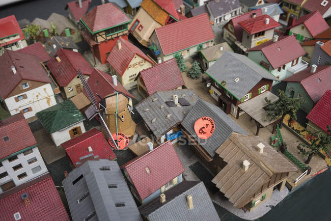 High angle view of model houses for sale — Stock Photo