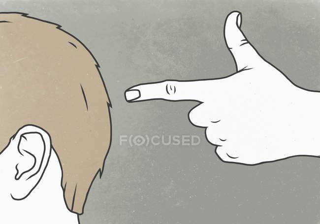 Illustration de main gesticulant tir tête contre fond gris — Photo de stock