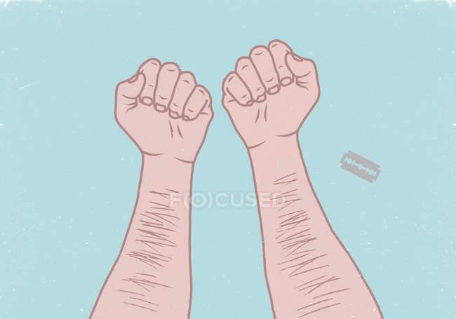 Illustration des mains de l'homme avec une lame de rasoir sur fond bleu — Photo de stock