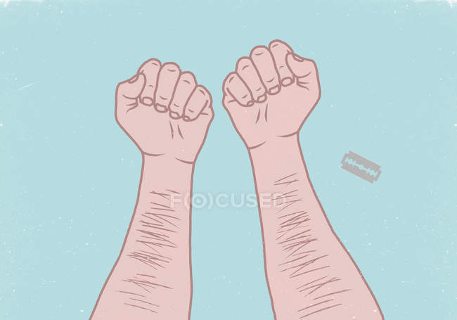 Ilustración de manos de hombre con hoja de afeitar sobre fondo azul - foto de stock
