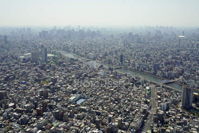 Вид з панорамним міський пейзаж Токіо — стокове фото