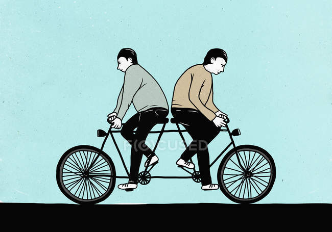 Illustration of male friends riding tandem bicycle in opposite directions — стоковое фото
