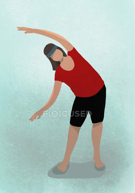 Illustration of woman stretching while practicing yoga — Stock Photo