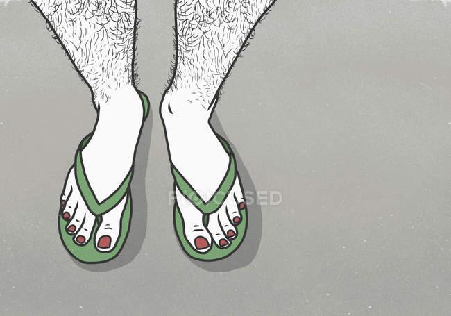 Section basse de l'homme avec le vernis à ongles rouge portant des pantoufles — Photo de stock