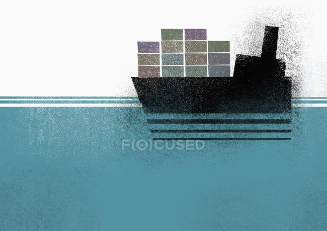 Illustration of cargo ship moving on sea — Stock Photo