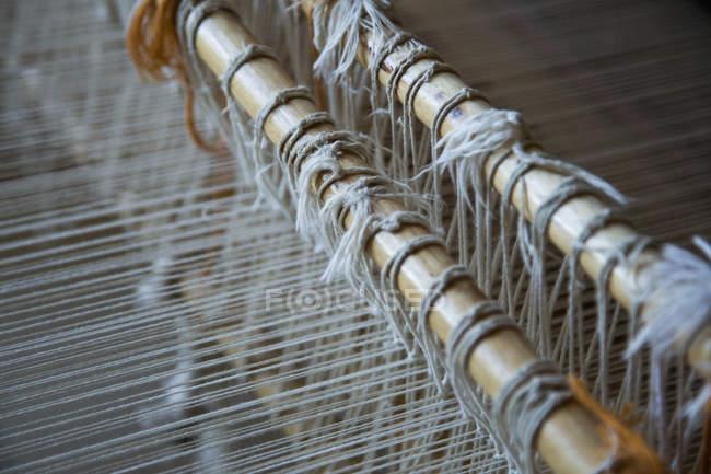 Close up view of handloom weaving machine — Stock Photo
