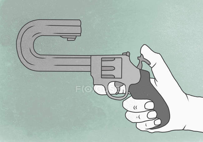 Illustration representing suicide of hand holding gun with curved barrel — Stock Photo