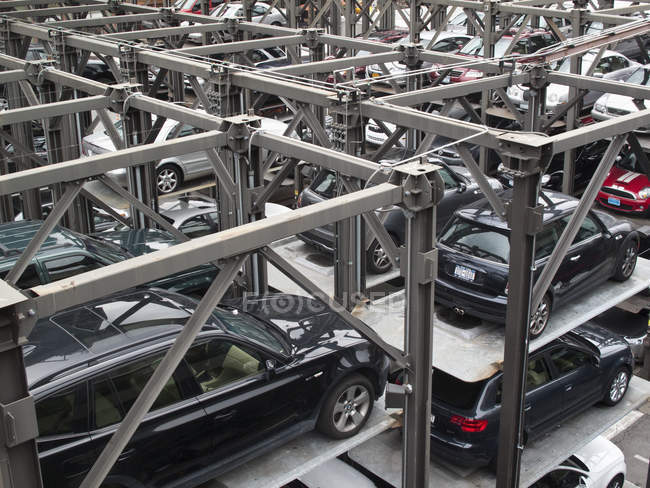 Full frame shot of vertical car parking lot — Stock Photo