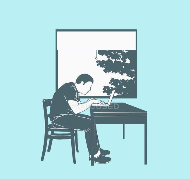 Ілюстрація, що представляє роботи на дому людини, використовуючи ноутбук проти вікно — стокове фото
