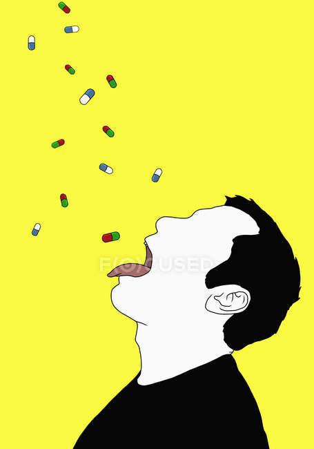 Illustrazione di capsule che cadono sull'uomo con la lingua sporgente — Foto stock