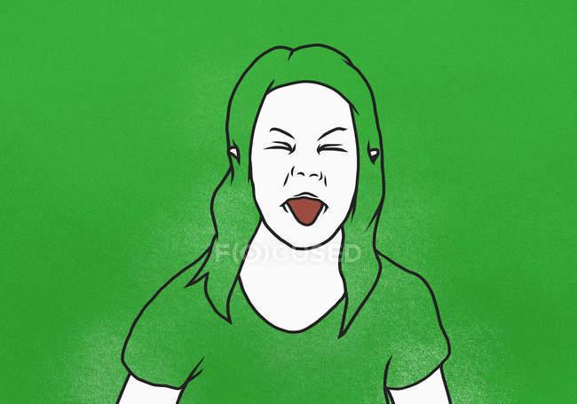 Illustration de la femme qui sort la langue sur fond vert — Photo de stock
