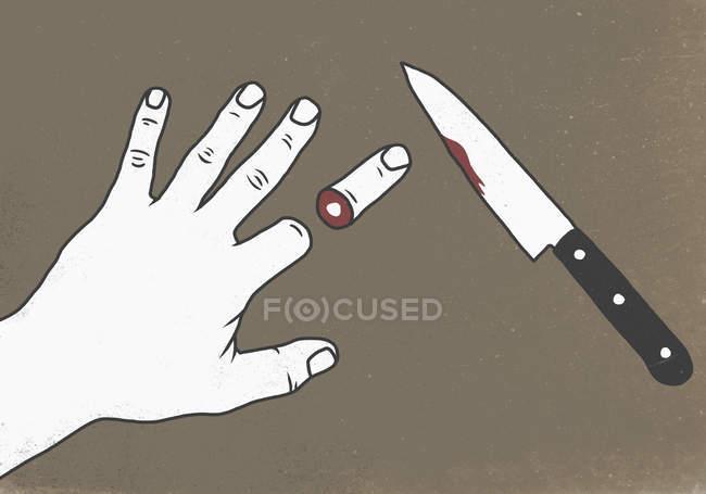 Illustrazione di tagliati con coltello dito umano — Foto stock