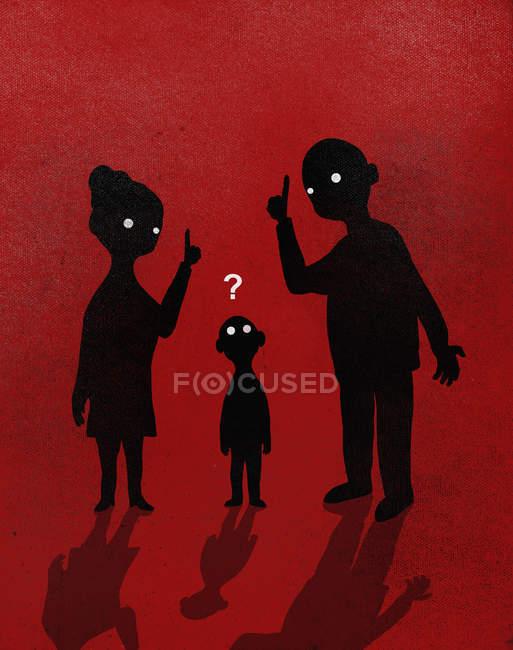 Ilustração dos pais explicando ao menino contra fundo vermelho — Fotografia de Stock