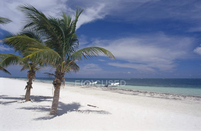 Idyllic landscape of tropical beach with moored boats — Stock Photo