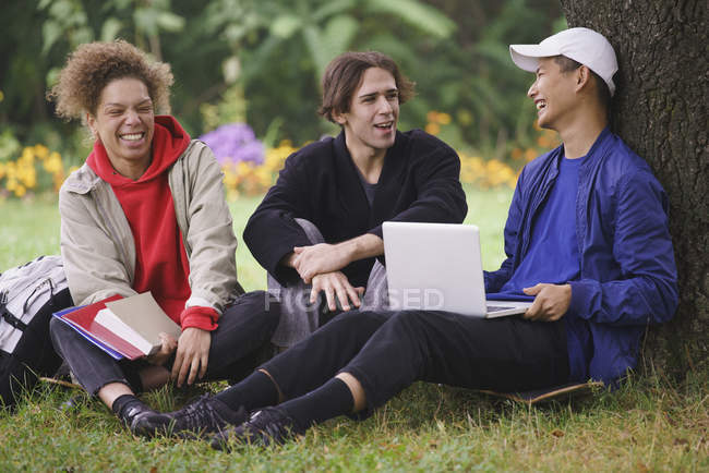 Amis se détendre à côté de l'arbre avec ordinateur portable sur l'herbe dans le parc — Photo de stock