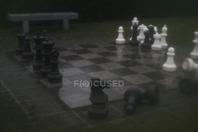 Большие шахматы на борту в парке — стоковое фото