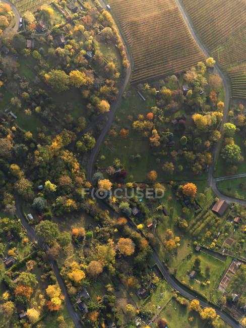 Пташиного польоту сільській місцевості поля під час осінь — стокове фото