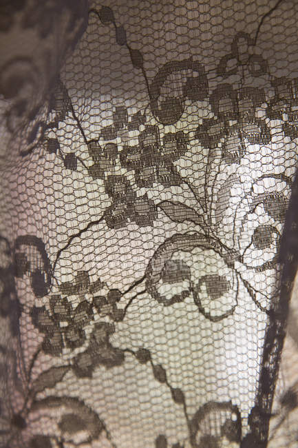 Full frame shot of floral lace curtain — Stock Photo