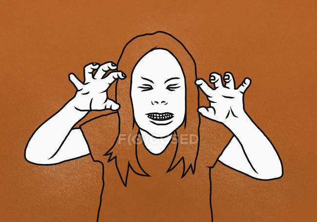 Illustration of woman clenching teeth while gesturing against orange background — Stock Photo
