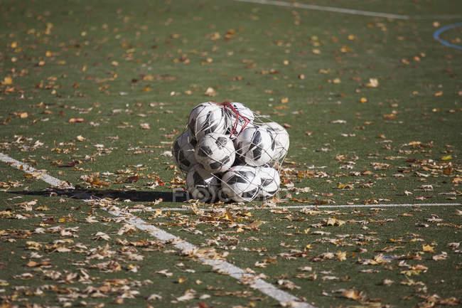 Bolas de futebol em rede em meio a folhas secas caídas no campo de jogo — Fotografia de Stock