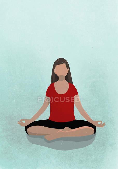 Illustration d'une femme assise en position lotus — Photo de stock