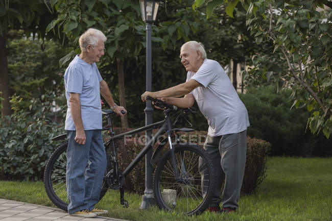 Smiling friends talking while standing with bicycle in park — Stock Photo