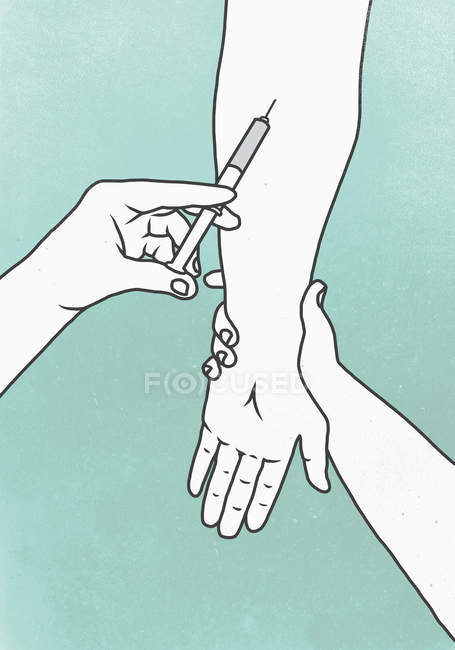 Illustration of hands performing injecting in patient hand — Stock Photo