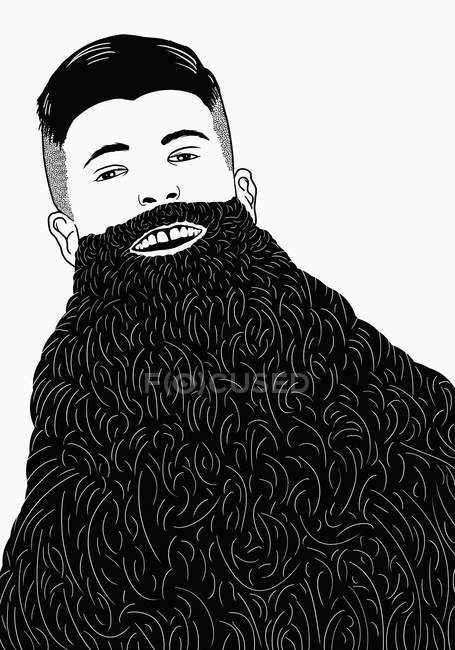 Illustration of man with long beard against white background — Stock Photo