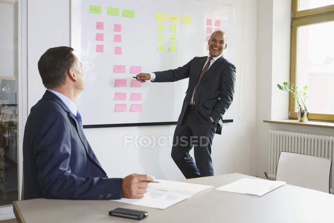 Щасливі бізнесмен, пояснюючи колег-чоловіків в творчих office — стокове фото