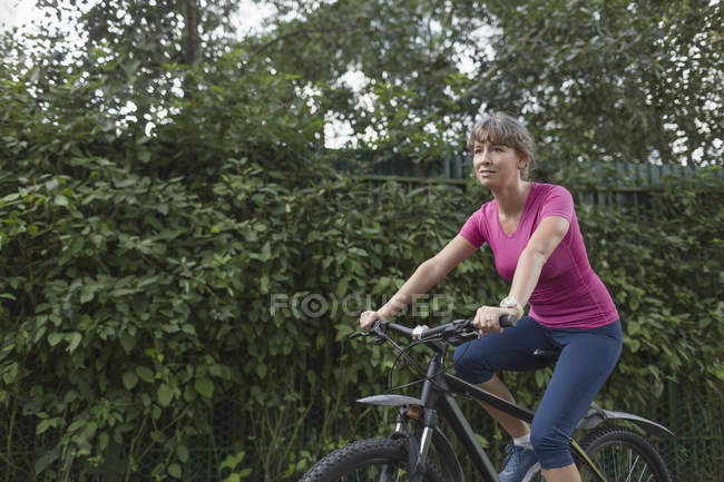 Woman riding bicycle with hedge on background — Stock Photo