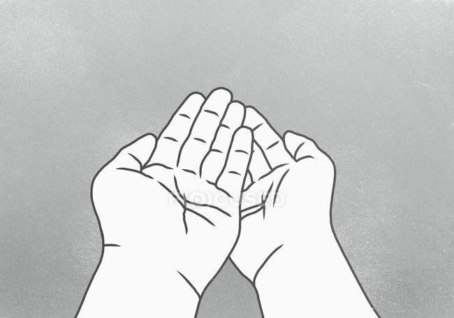 Cropped image of cupped hands against gray background — Stock Photo