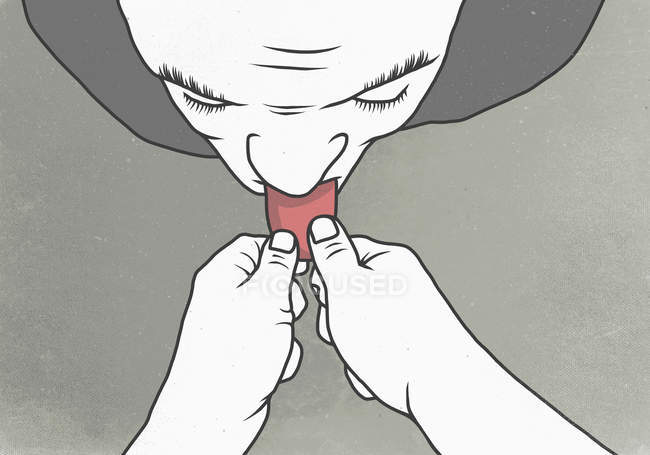 Hände halten Person Zunge — Stockfoto