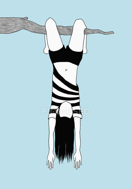 Illustration of woman hanging upside down from branch against sky — Stock Photo