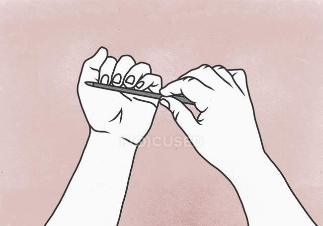 Иллюстрация того, что женщина кладет ногти на цветной фон — стоковое фото