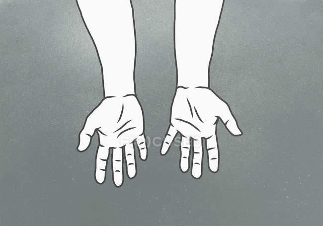 Обрезанное изображение рук на сером фоне — стоковое фото