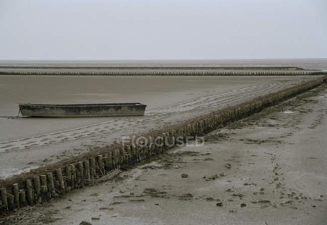 Краєвид туманного і плоскі пляж з покинутих човен на пляжі — стокове фото