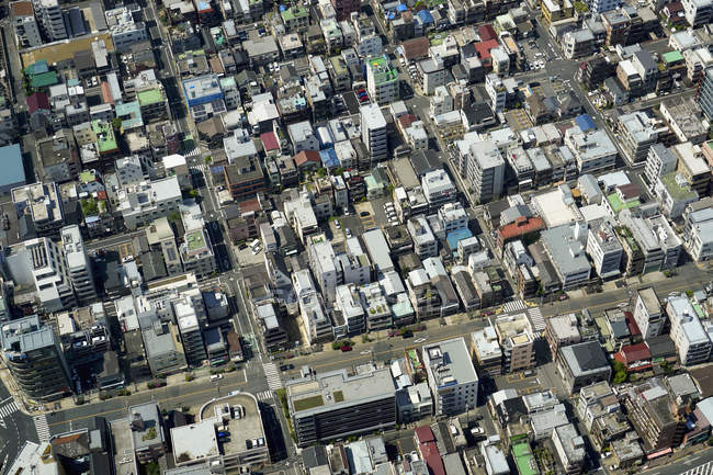 Aerial view of residential district in city, — Stock Photo