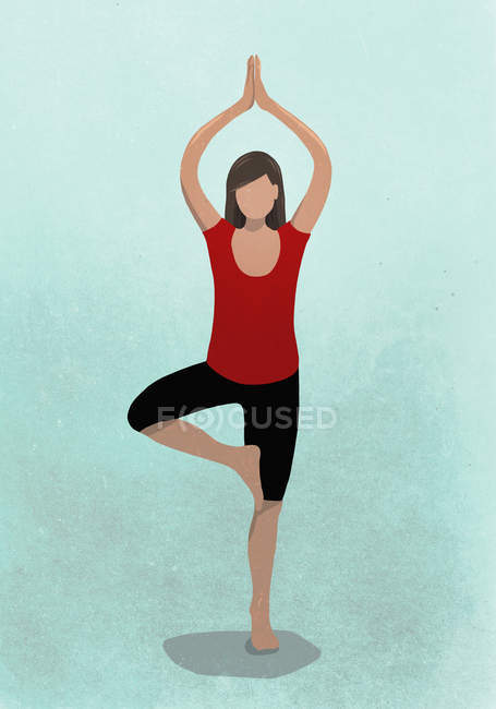 Illustration of woman practicing tree pose against blue background — Stock Photo