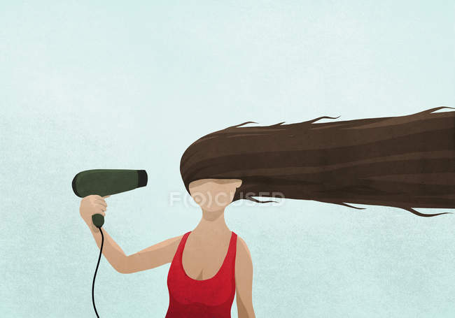 Illustration of woman drying long hair with blow dryer against blue background — Stock Photo
