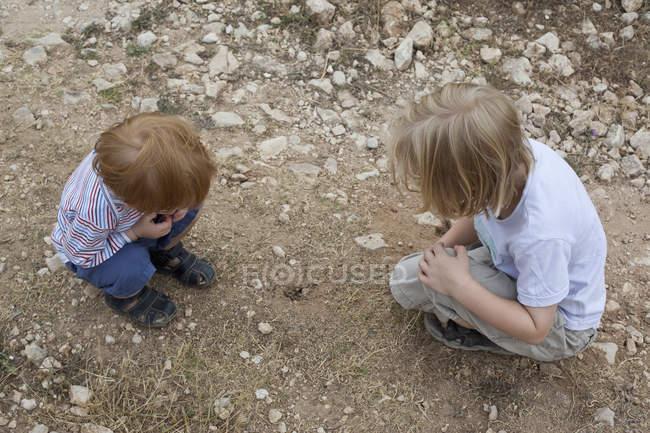 Два хлопчика, дивлячись на дірку в бруд — стокове фото