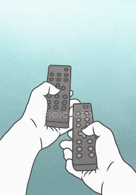 Illustration of person using remote controls against blue background — Stock Photo