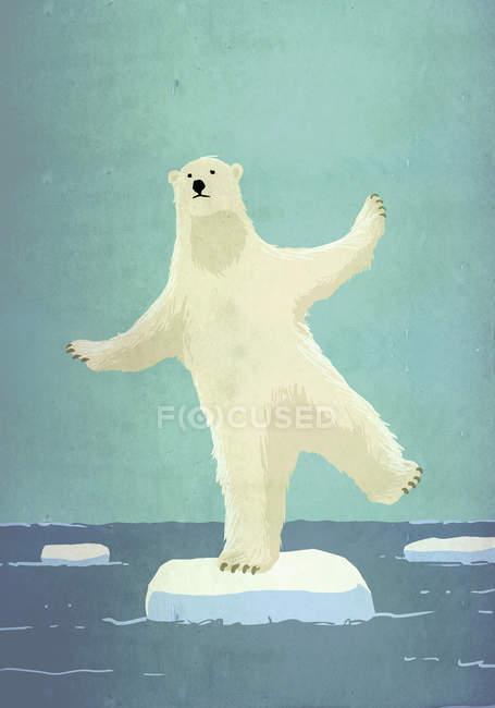 Imagem ilustrativa, representando o aquecimento global de urso polar, equilibrando no iceberg no mar — Fotografia de Stock