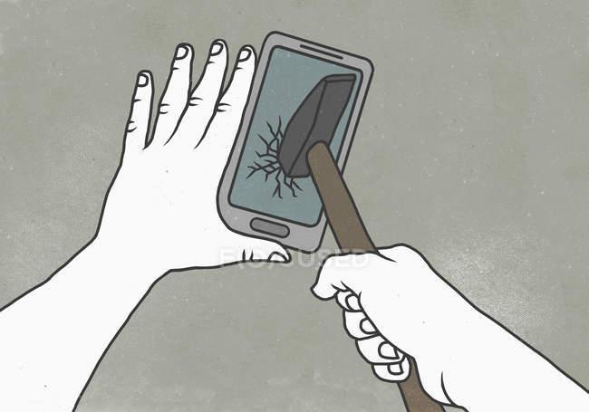 Crop hands breaking smart phone with hammer — Stock Photo
