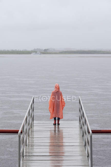Rear view of woman wearing raincoat standing on jetty — Stock Photo