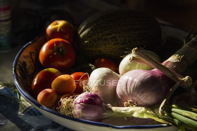 High angle view of fresh food in bowl — Stock Photo